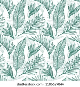 Vector seamless tropical pattern. Monochrome vector illustrations in graphic style.