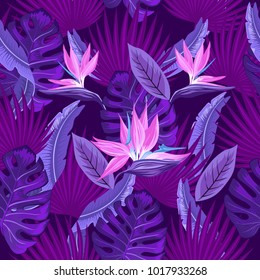 Vector seamless tropical pattern, neon tropical foliage, with leaves of monsters, palm leaves, bird's paradise flower. Trend design.