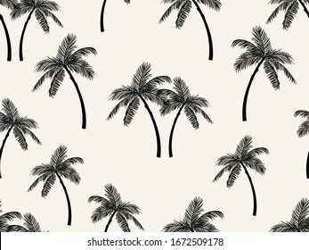 Vector seamless tropical pattern with palm tree on white background. Vector  floral illustration for textile, print, wallpapers, wrapping.
