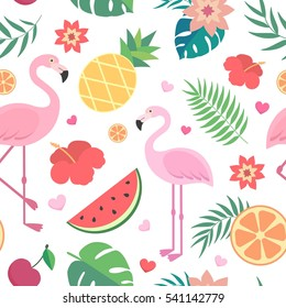 Vector seamless tropical pattern. Palm leaves, pineapple, flamingos, exotic flowers, watermelon, orange.