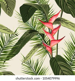 Vector seamless tropical pattern, vivid tropic foliage, with palm leaves, bird of paradise flower, heliconia in bloom. modern bright summer print design.