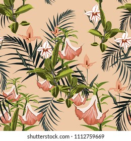 Vector seamless tropical pattern, vivid tropic foliage, with palm leaves, tropical lilies flower, orchid in bloom. Modern bright summer print design. Vintage background.