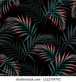 Vector seamless tropical pattern, vivid tropic foliage, with palm leaves. Modern bright summer print design. Black background.