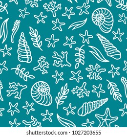 Vector seamless underwater sea pattern. Duotone blue and white boundless background. Various sea plants and algae, shells and starfish. Great for web page background, wrapping paper and invitation.