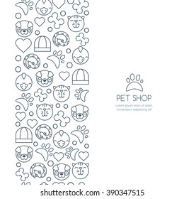 Vector seamless vertical background with outline icons of cat, bird, snake and dog. Banner or flyer design template with copyspace. Trendy concept for pet shop, pets care and grooming, veterinary.