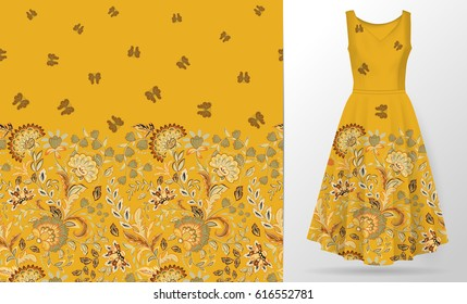 Vector seamless vertical pattern with Decorative yellow orange flowers and butterfly ornament on pastel green background, hand drawn texture for clothes, bedclothes, invitation, card design etc.