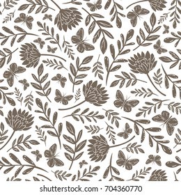 Vector seamless vintage bronze pattern with butterflies branches and asters on white background