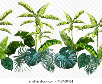 Vector seamless vintage composition with exotic leaves, banana trees. Botanical classic illustration. Perfect for wallpapers, web page backgrounds, surface textures, textile.