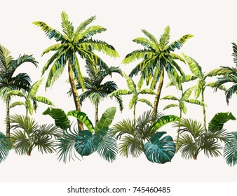 Vector seamless vintage composition with exotic leaves, palm trees. Botanical classic illustration. Perfect for wallpapers, web page backgrounds, surface textures, textile.