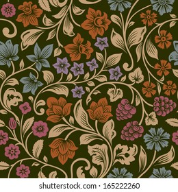 Vector seamless vintage floral pattern. Stylized silhouettes of flowers and berries on a black background. Orange, pink, brown, purple flowers with gold leaves. Persia.