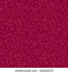 Vector seamless vintage floral pattern. Stylized silhouettes of flowers and berries on a claret background. Red flowers.