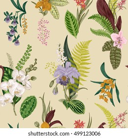 Vector seamless vintage floral pattern. Exotic orchid and leaf. Botanical classic illustration. Colorful