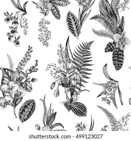 Vector seamless vintage floral pattern. Exotic orchid and leaf. Botanical classic illustration. Black and white