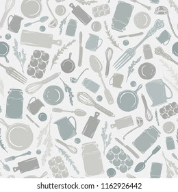 Vector Seamless Vintage Kitchen Utensil, Cookware, Herb, & Silverware Scatter in Gray, Green, & Tan with Subtle Texture. Great for fabric, kitchen textiles, scrapbooking, wallpaper, & home decor.