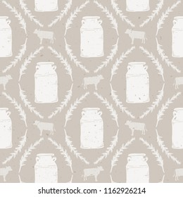 Vector Seamless Vintage Milk Jug, Farm Animal, and Greenery Damask in Cream, Brown and Tan with Subtle Texture. Great for fabric, kitchen textiles, scrapbooking, wallpaper, & home decor.
