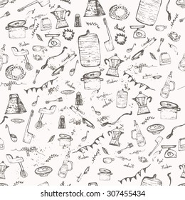 Vector seamless vintage pattern doodle kitchen and cooking supplies with jar, pan, blender. EPS10.