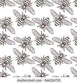 Vector seamless vintage pattern with linear bee. Organic honey background. Concept for honey package design, label, wrapping, fashion prints.