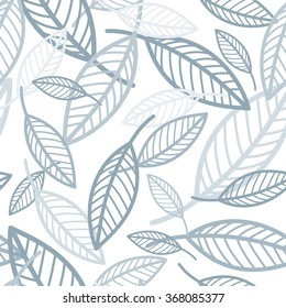 Vector seamless vintage pattern with neutral blue-grey leaves.