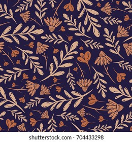 Vector seamless vintage sepia pattern with daisies leaves and branches on dark purple background