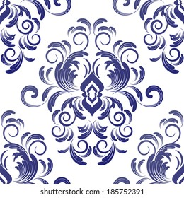vector seamless wallpaper. damask pattern. flower background