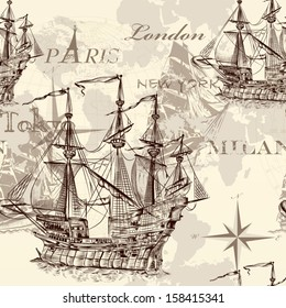 Vector seamless wallpaper design with old-fashioned ship and map