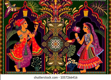 Vector seamless wallpaper, indian motif.  Man and woman in the tropical garden. Ethnic style. Indian color miniature. Decorative seamless panel, hand drawn illustration