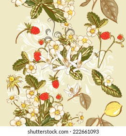Vector seamless wallpaper pattern with  wild strawberry