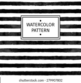 Vector seamless watercolor pattern. Black and white stripe.