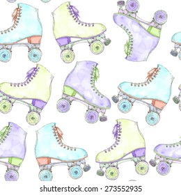 Vector seamless watercolor pattern with colorful retro roller skates
