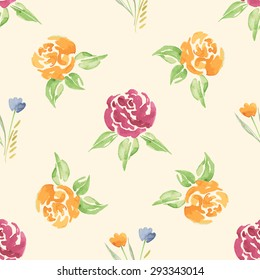 Vector the Seamless Watercolor Pattern of Flowers. Pattern with of Yellow and Red Roses, yellow and Blue florel. Backdrop for your design wedding invitations, save the date cards, scrapbook and etc