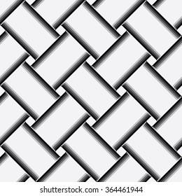 Vector seamless weave pattern, geometric background Black white gray