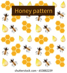 Vector seamless white pattern with bees and honeycombs. Colorful backdrop with insects. Decorative illustration.