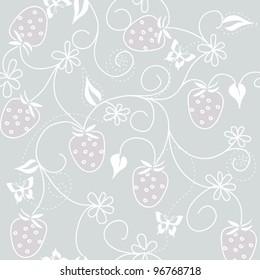 vector seamless wild strawberry pattern