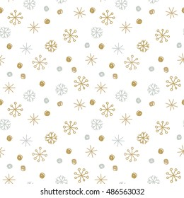 Vector Seamless Winter Pattern Background with Sikver and Gold Snowflakes. Can be used for textile, parer, scrapbooking, wrapping, web and print design