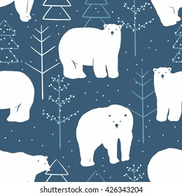 Vector seamless winter pattern with white polar bears