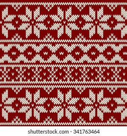 Vector seamless winter red pattern