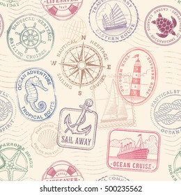 Vector Seampless pattern texture comosed of original vintage illustrations of nautical and sea objects and concepts