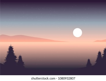 vector seascape  illustration night sky over the water, evergreen trees on the coast and island silhouettes