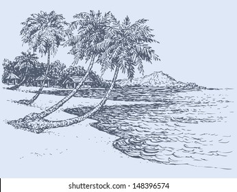 Vector seascape. Palm trees near the village on the shore of the ocean