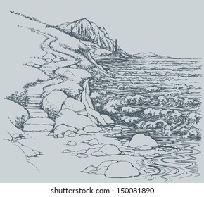 Vector seascape. Steps leading down the steep descent to the rocky shore, lapped by the surf
