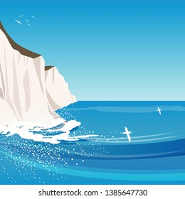 Vector seascape of the White cliffs of Dover