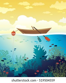 Vector seascape - wooden boat on a sunset sky and underwater marine life with school of fish and coral reef. Summer tropical illustration.