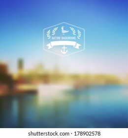 Vector seaside landscape with hipster badge. Outdoor. Barcelona seafront view with hipster badge. Vacation, travel, tour blurry backdrop. Blurred. Hexagon badge label,  sky-blue, reflected in water