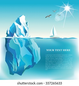 Vector seaside view poster with Iceberg  and yacht