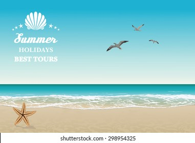 Vector seaside view poster with tropical beach, sea-gulls and lettering