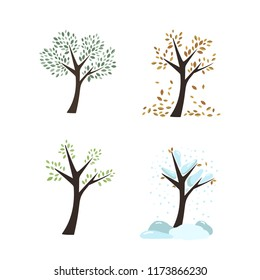 Vector seasons autumn winter spring summer trees leaves tree trunks forest garden icons nature color on white background