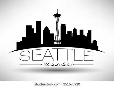 Vector Seattle Skyline Design
