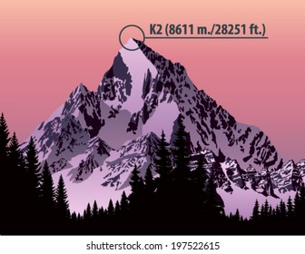 Vector second highest mountain in the world K2. Karakorum Range
