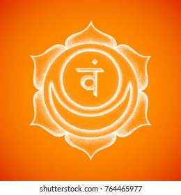 Vector second Svadhishthana sacral chakra sanskrit seed mantra Vam hinduism syllable lotus petals. Dot work tattoo style hand drawn white monochrome symbol on orange background for yoga practices.