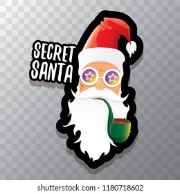 vector secret santa claus with sunglasses label or sticker isolated on transparent background. Secret santa gift ideas concept illustration
